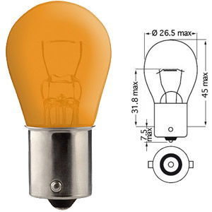 POIRETTE 12V 21W BA15S ORANGE/AMBRE